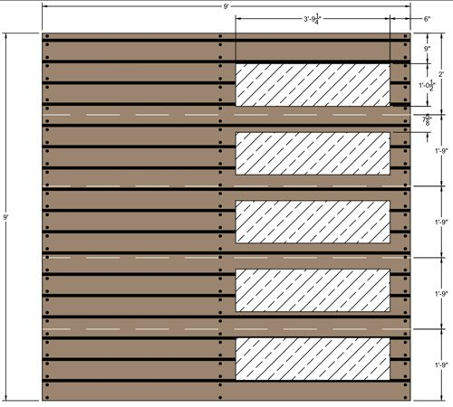 Wood garage door CAD drawing