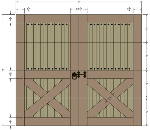 Wood garage doors, CAD drawing
