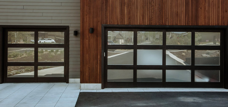 Custom full view garage door with wood