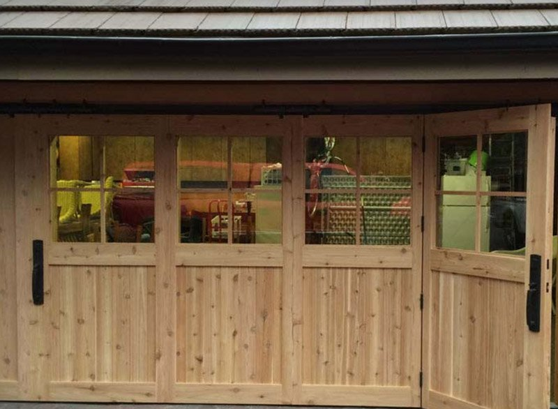 Custom wooden hydraulic garage door