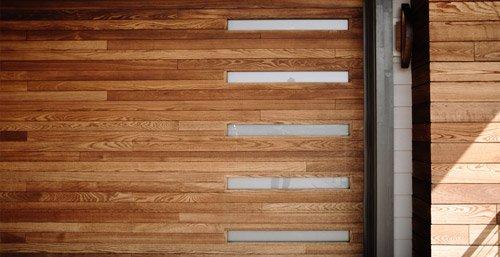 Close up of custom wood garage