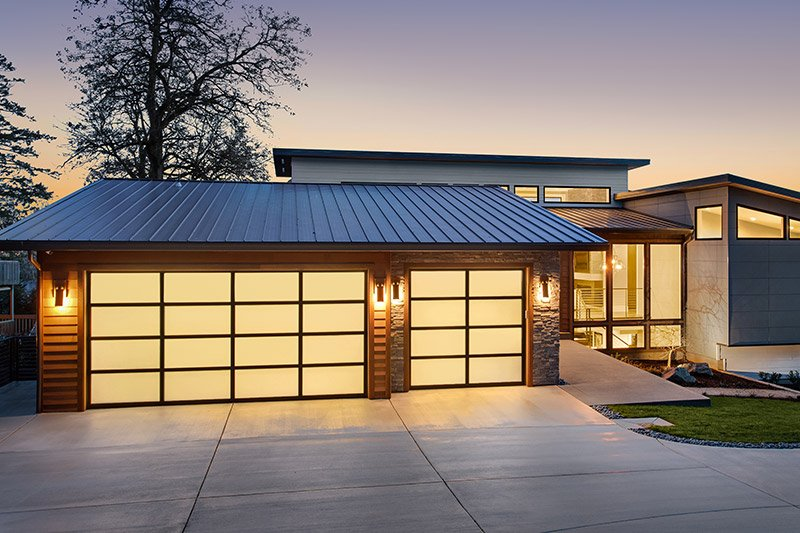 energy efficient home with garage doors