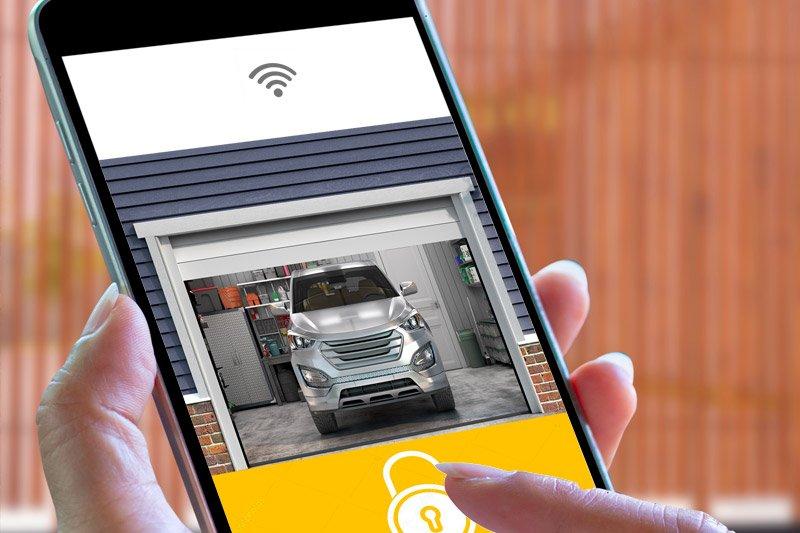 best wifi garage door opener mocked up on iphone
